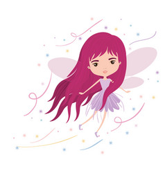 Girly fairy flying with wings and long hair vector