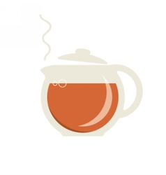 Glass teapot with hot tea icon vector image