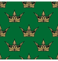 Gold crown on green in a seamless pattern vector