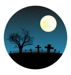 Graveyard with moon vector