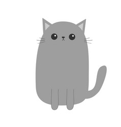 Gray cat kitten cute cartoon kitty character vector