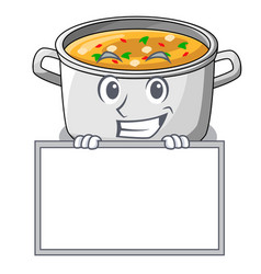 Grinning with board vegetable soup with pasta in vector
