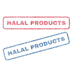 Halal products textile stamps vector
