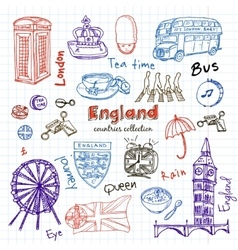 Hand drawn doodle England symbols set vector