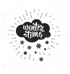 hand drawn typography poster winter time vector image