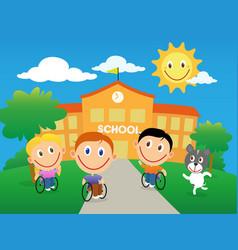 Happy children in wheelchair going back to school vector