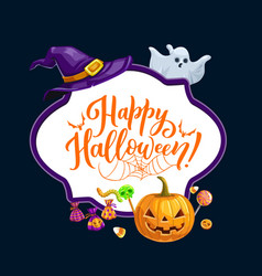 happy halloween trick or treat party frame vector image