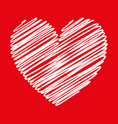 Heart white scribble with lines texture on red vector