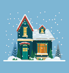 Home with christmas eve and new year decorations vector
