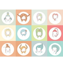 Horoscope signs with girls vector image