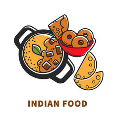 indian cuisine food and traditional dishes vector image