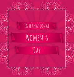 International womens day banner pink ribbon on a vector