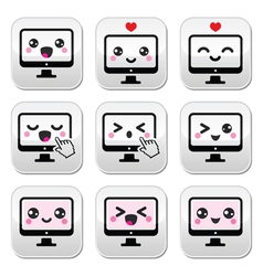 Japanese cute Kawaii character - computer buttons vector