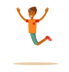 Joyous man jumping with raised arms vector