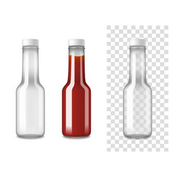 ketchup glass bottles realistic set vector image