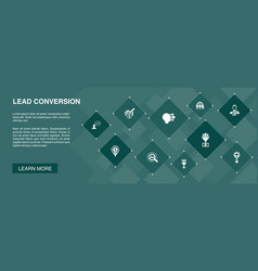 Lead conversion banner 10 icons conceptsales vector