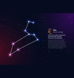 Leo zodiacal constellation with bright stars vector