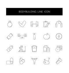 line icons set bodybuilding pack vector image