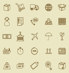 Logistics line icons on brown background vector