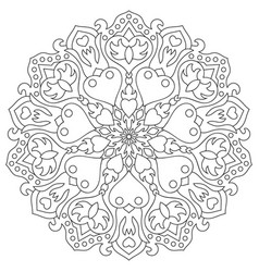 Mandala with hearts for coloring book circular vector
