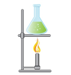 Medical test bottle on Bunsen burner vector