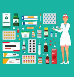 medicine pharmacy hospital set medicines vector image