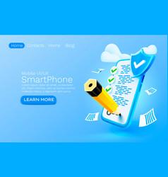 Mobile document check list service organization vector