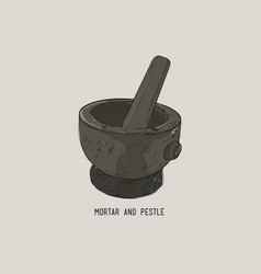 Mortar and pestle in a wreath of spices and herbs vector