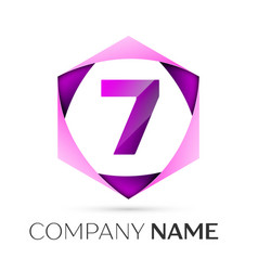 Number seven symbol in colorful hexagonal vector