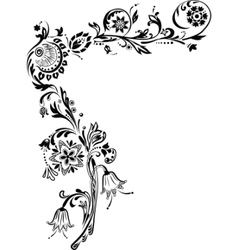 Ornate corner with flowers vector