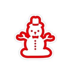 Paper sticker on white background Snowman in hat vector