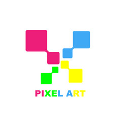 Pixel art logo design template eps 10 vector
