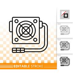 power supply simple black line icon vector image