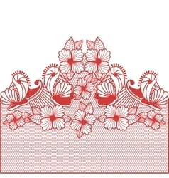 red abstract pattern with butterflies and flowers vector image