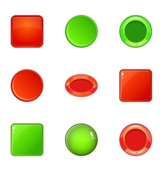 Round and square button icons set cartoon style vector