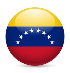 Round glossy icon of venezuela vector