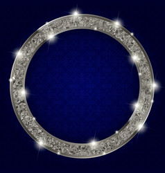 Round silver frame with lights on dark background vector