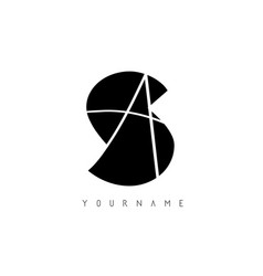 Sa s a black and silver letters logo vector