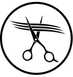 Scissors cutting strand hair vector