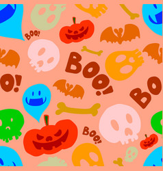 seamless pattern with halloween design elements vector image