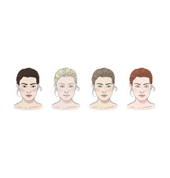 Seasonal color types for women skin beauty set vector