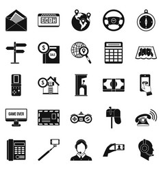 Service phone icons set simple style vector