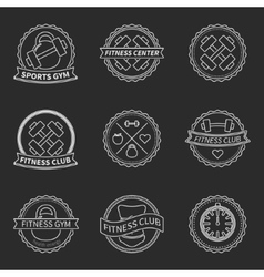 Set of sports and fitness logo emblem graphics vector