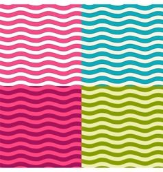Set of wavy seamless patterns vector image