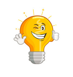 shining yellow smiling light bulb vector image