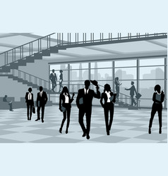 Silhouettes of businesspeople in office vector