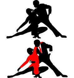 silhouettes of dancing couples vector image