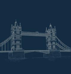 Sketch tower bridge vector