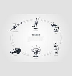 soccer - forward fine goalkeeper whistle vector image