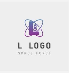 Space force logo design l initial galaxy rocket vector